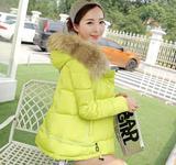 冬季新款女棉韩版修身时尚A字版连帽大毛领短款羽绒服