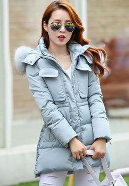 大码时尚韩版显瘦大毛领中长款羽绒棉服外套女 防冻防雨服