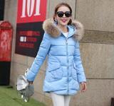 2015冬装新款大毛领中长款羽绒服连帽拉链保暖学生棉服