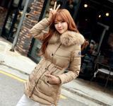 2015新款女士品牌羽绒服 韩版修身貉子大毛领中长款加厚外套